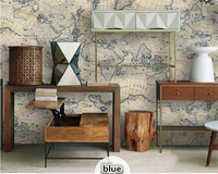 beibehang Retro fashion maps, environmental protection nonwoven wallpaper living room study barber shop TV background wall paper