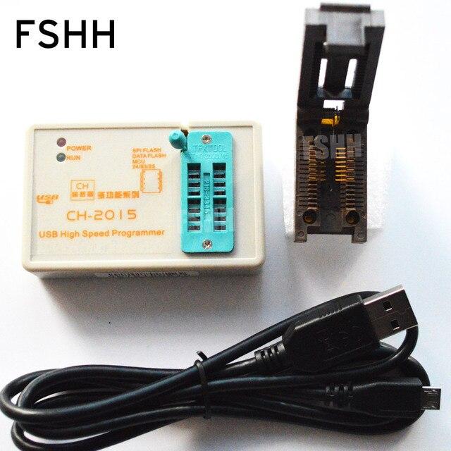ÜCRETSIZ KARGO! programı CH2015 USB Yüksek hızlı programcı + 300mil FP16 to DIP8 soket eeorom/spi flaş/veri flaş/ AVR MCU programcı