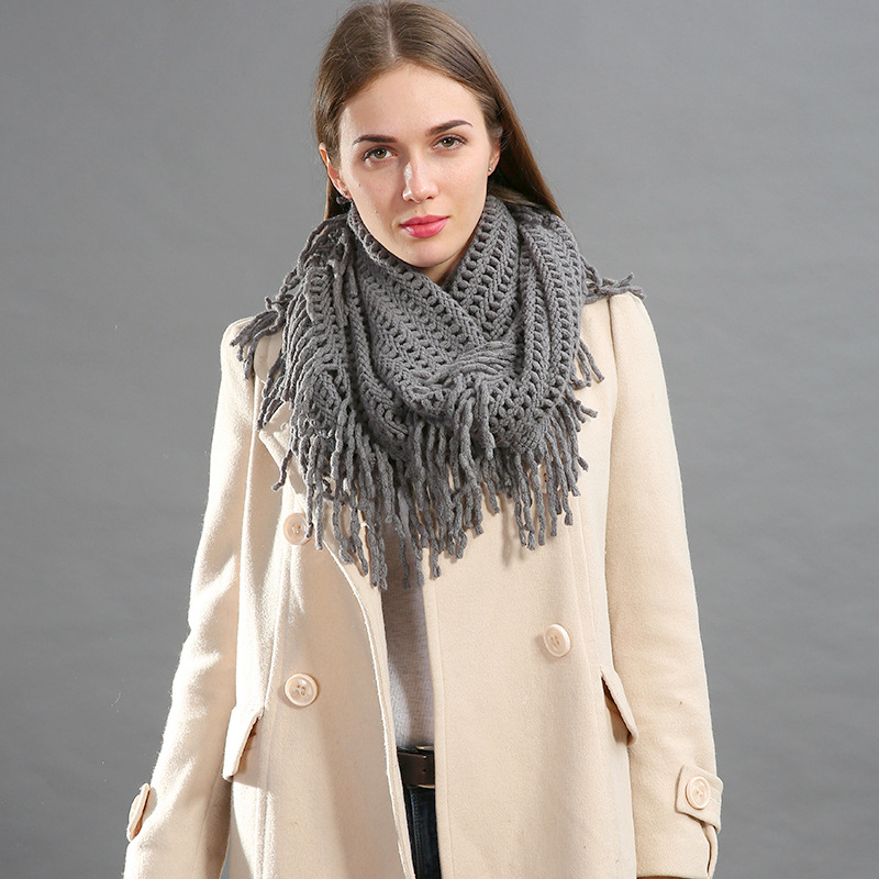 2019 Spring Autumn Woman Scarf Cotton Hollow Tassel Soft Gentle Fashion Solid Knitted Ring