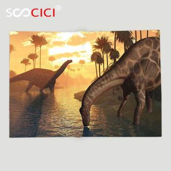 Custom Soft Fleece Throw Blanket Jurassic Decor Collection Two Dicraeosaurus Dinosaurs in a Prehistoric Sunrise Landscape