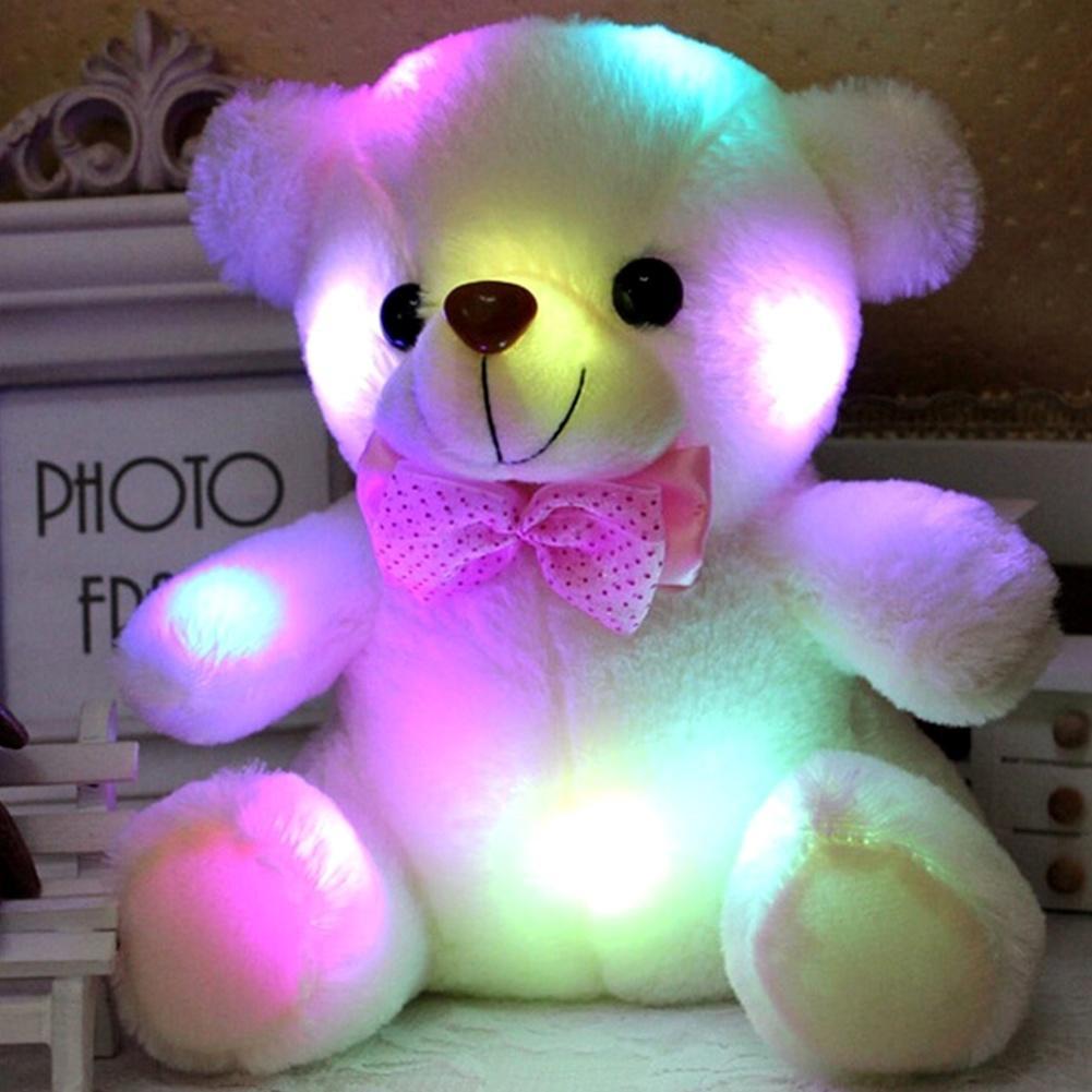 Colorful LED Flash Light Bear Doll Plush Stuffed Toys 20-22 Cm Bear Night Light Home Decoration Christmas'S Gifts стоимость