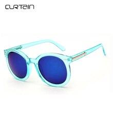 Curtain Korean Round Reflective Sunglasses Women Classic Fashion Brand Color Membrane Steampunk Sun Glasses Men Female