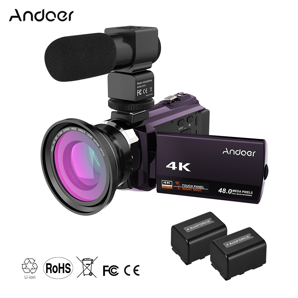 Andoer WiFi Digital Video Camera 4K 1080P 48MP Camera Camcorder Recorder w 2pcs Rechargeable Batteries 0