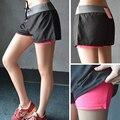 Mujeres Transpirable de Dos piezas Impiden emptiedShorts Verano 2016 mujeres Ocasionales de la Manera mujeres Corto Pantalones Cortos de ejercicio de fitness