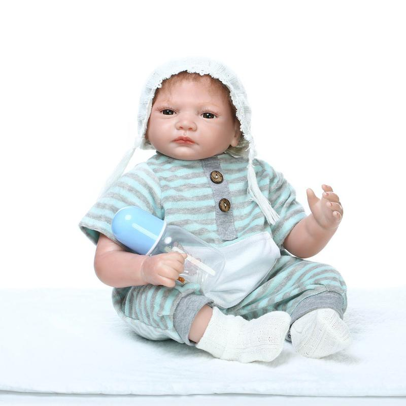 55cm Realistic Reborn Baby Dolls Newborn Bebe Doll Lifelike Soft Vinyl Baby Doll Toys Brinquedos Reborn Bonecas de silicone Gift 22 inch bebe reborn babies 55cm doll silicone reborn handmade realistic baby dolls toys for children gift juguetes brinquedos