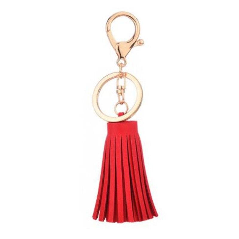 WKOUD Korean Reflective Fringe PU Leather Tassel Keychain Rhodium Key Holder Metal Key Chain Keyring Charm Bag Auto Car Key Ring