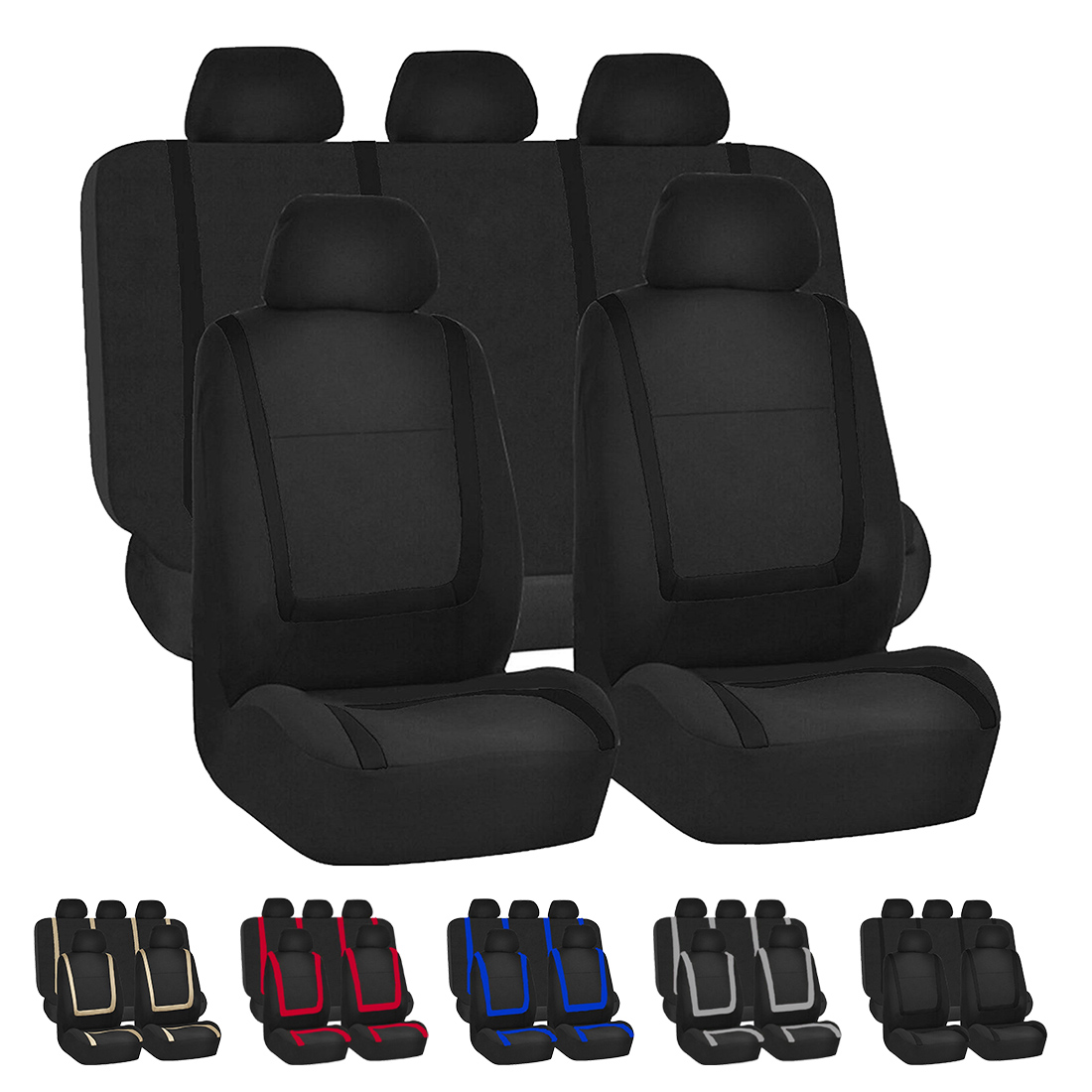 Dewtreetali Car Seat Cover Cloth Fabric 9pcs Universal Automobile Seat Covers Protector Black Car Styling Interior Accessories
