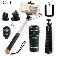 Cheaper 12X Zoom Telephoto Lens Telescope With Selfie Stick Fisheye Wide Angle Macro Lentes For iPhone 6 6s 7 Plus Cell Phone Lenses Kit