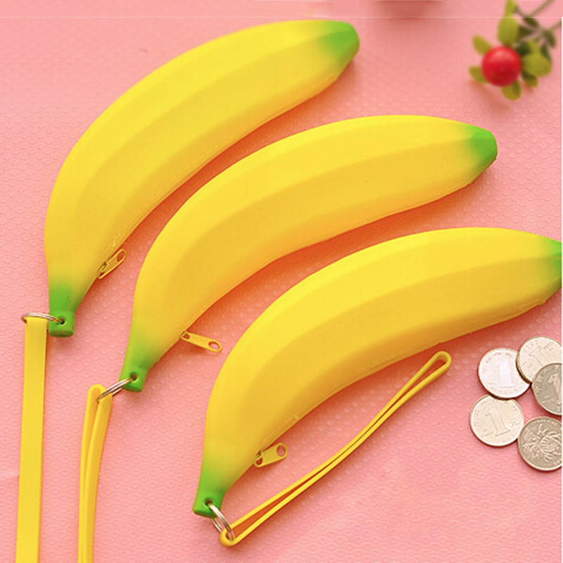 Us 1 55 17 Off Kuzhen Yellow Color Silicone Banana Pencil Case Kawaii Bag Coin Purse Stationery Storage In Bags From Home
