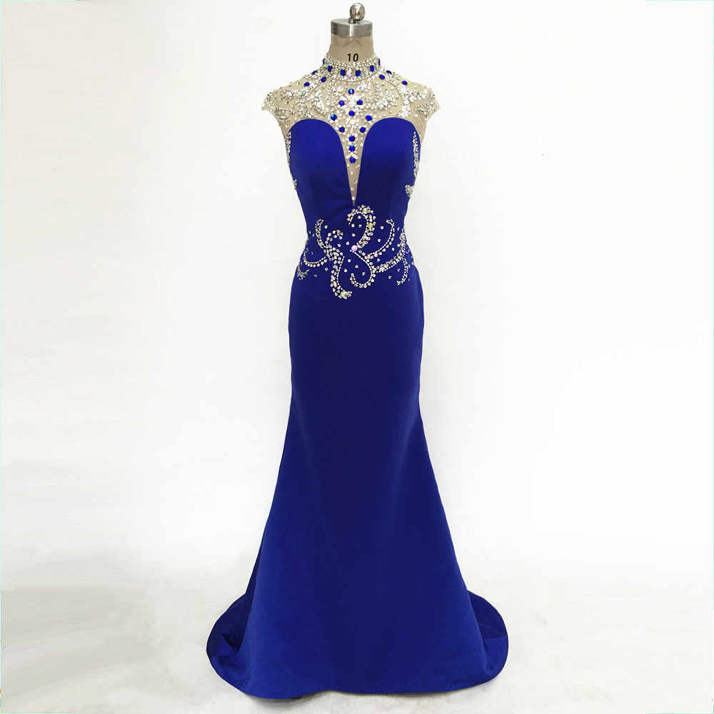 New Blue Satin Sexy Mermaid Prom Dresses Long Deep-V Fashion Elegant Vestido  Festa Curto 0d777b9190b2