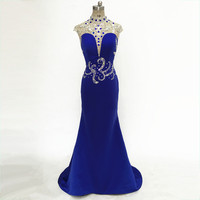 New Blue Satin Sexy Mermaid Prom Dresses Long Deep V Fashion Elegant Vestido Festa Curto 2018 royal blue evening dress for party