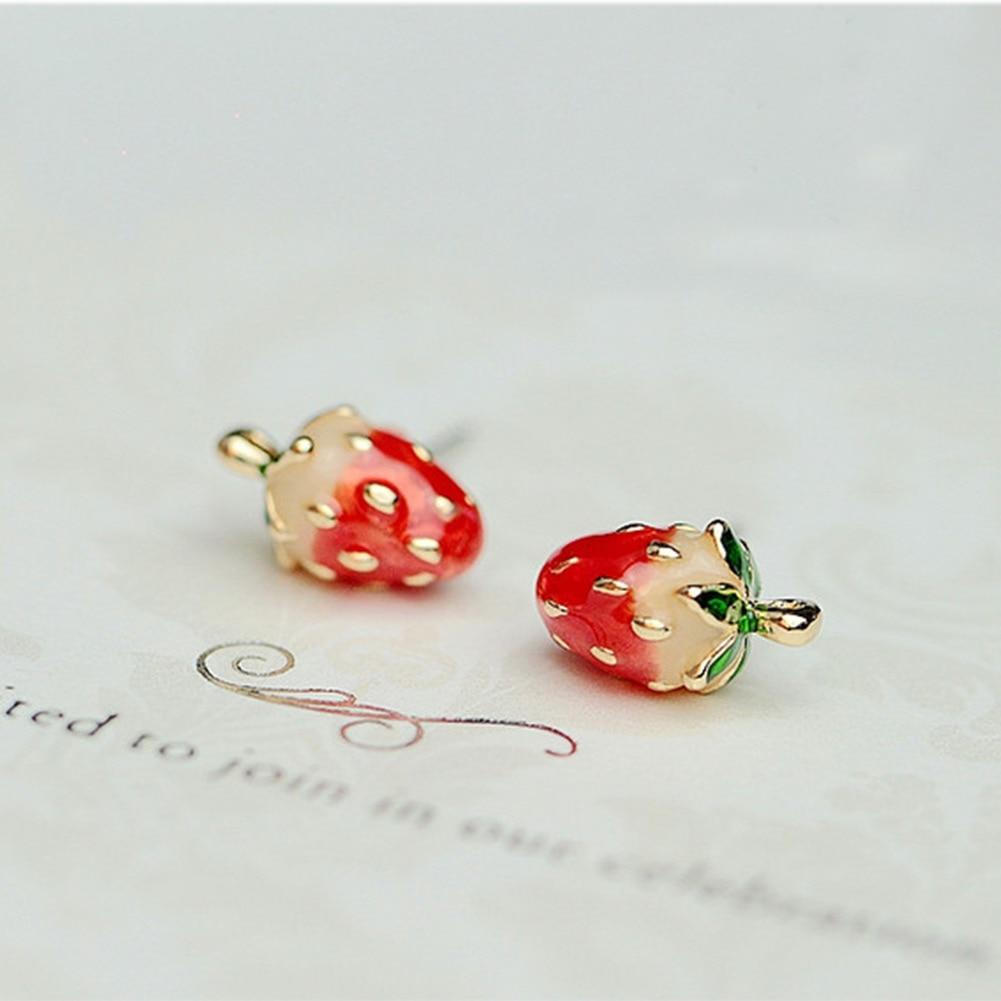 Beautiful Bow Earrings Japanese Princess Pearl Strawberry Pendants Fruit Earrings Girls Girls Jewelry Wholesale Jewelry & Accessories