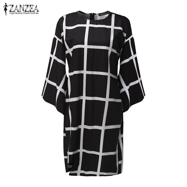 ZANZEA 2017 Women Flare Sleeve O Neck Dresses Casual Ladies Plaid Print Dress Back Zipper Tunic Clubwear Femininas Vestidos