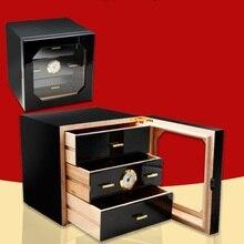 Роскошный 3 ящика кедрового дерева ящик для сигар шкаф держатель Деревянный курительная Сигара коробка для хранения сигарет увлажнитель с гигрометром