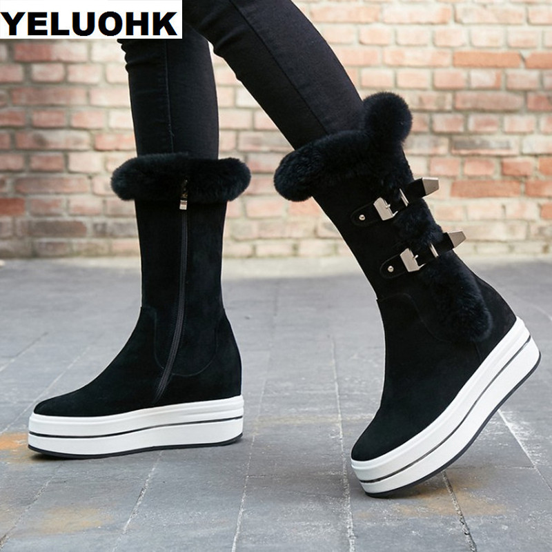 Brand New Buckle Snow Boots Women Winter Shoes Warm Plush Mid Calf Boots Female Shoes Comfortable Women High Boots High Quanlity 2016 new warm snow boots women plush winter mid calf boots fashion wedding shoes brand lady botas flat shoes