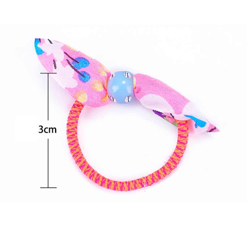 ยืดหยุ่นเด็กผู้หญิง Headbands สำหรับเด็กทารกอุปกรณ์เสริมผมเด็กทารกการ์ตูน Bows ไนลอนยางวงผมสีสุ่ม