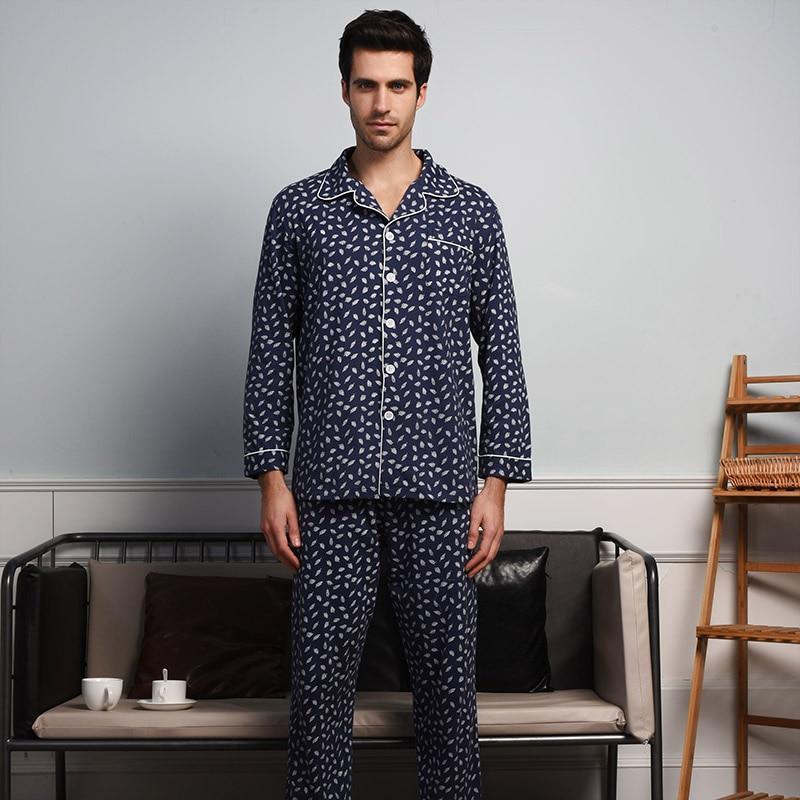 DO DO MIAN Couples Pajamas Sets 95% Cotton 2 psc Leisure Home Clothing Suit women/men Turn-down Collar Cardigan tops+pant