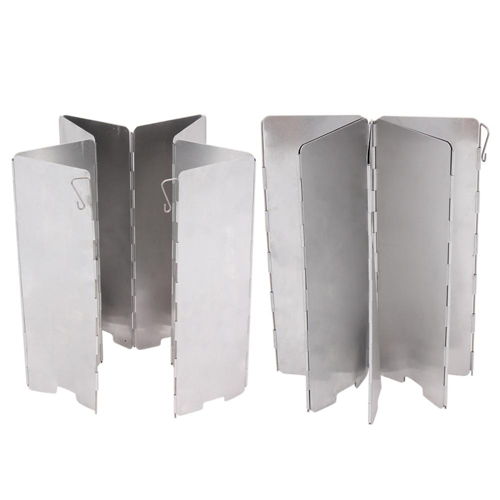 8 Placas aluminio estufa al aire libre Wind deflector parabrisas camping al aire libre cocina estufa de gas Pantalla de viento