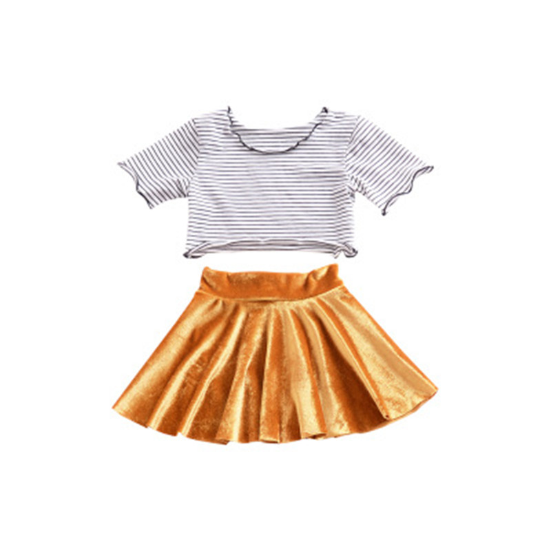 Girl 2Pcs Clothing Set 2018 Summer Strip Tee top + Gold Velvet Tutu Skirt Kid Costumes Clothes For Children Infant Girls Sets two pieces kid girl set tutu summer flower cotton t shirt tutu skirt sets children outfits dance party prom clothing