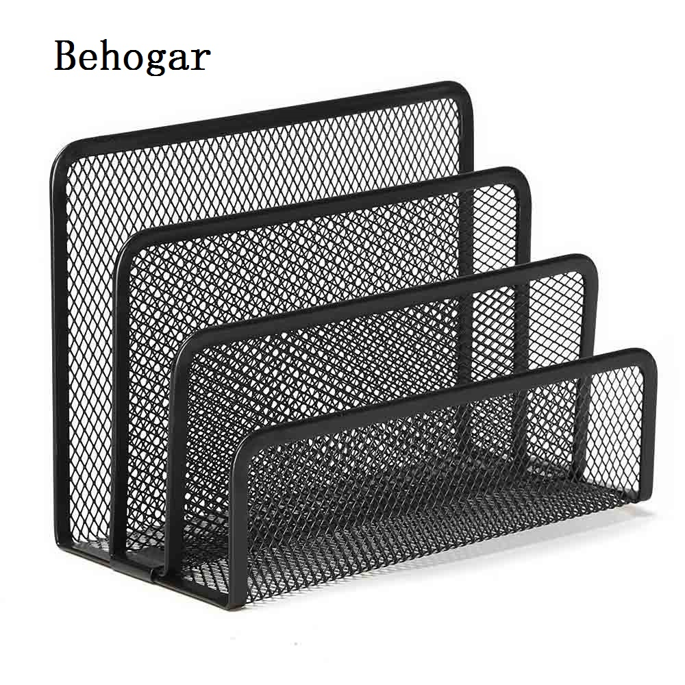 Behogar 3 Section Office Metal Desk Mesh Letter Paper