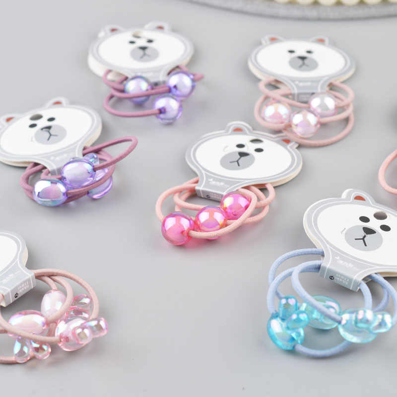 3PCS/card  Beads hair ties rubber band  hair gum Colorful hair clip  hair accessories for girl kid hairband G20