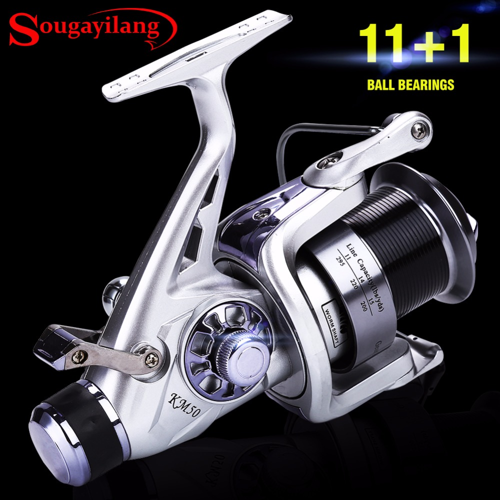 цена на Sougayilang 11+1BB Carp Fishing Reel Carretilha Molinete Coil Wheel Spinning Fishing Reel 5.2:1 High Speed Fishing Reel Pesca