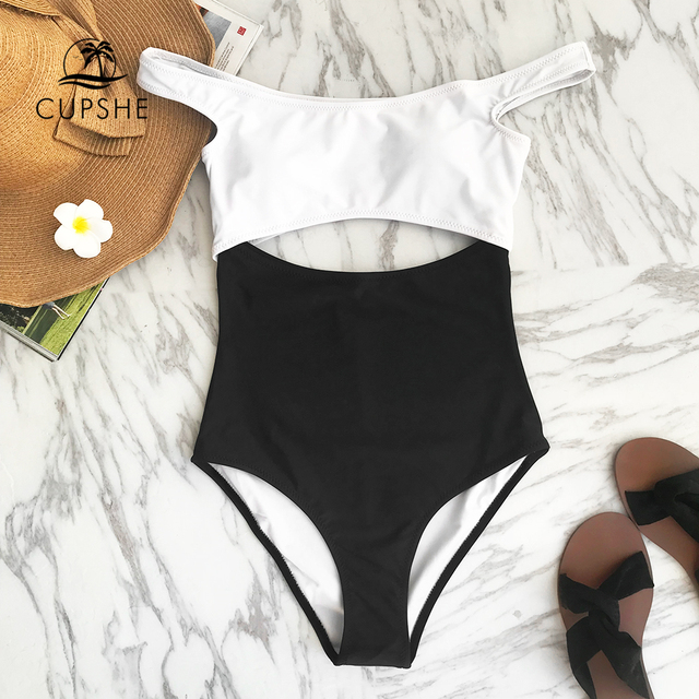 6a9b775f6c70d CUPSHE White And Black Dropped Shoulder One-piece Swimsuit Women Cutout  Monokinis 2019 Girl Beach
