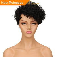 Joedir Brazilian Water Wave Remy Hair Short Human Hair Wigs For Black Women Mohawk Machine Made Wigs Natural Black Color Red