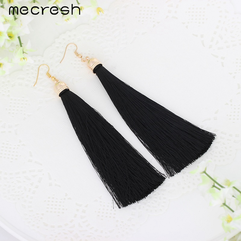 Mecresh 5 Colors Fiber Long Tassel Earrings Fashion Jewelry 2017 Bohemian Pendantes Femmes Ethniques Earrings for Women EH422