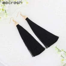 Mecresh 5 Colors Fiber Tassel Long Drop font b Earrings b font for Bridal Women Gold