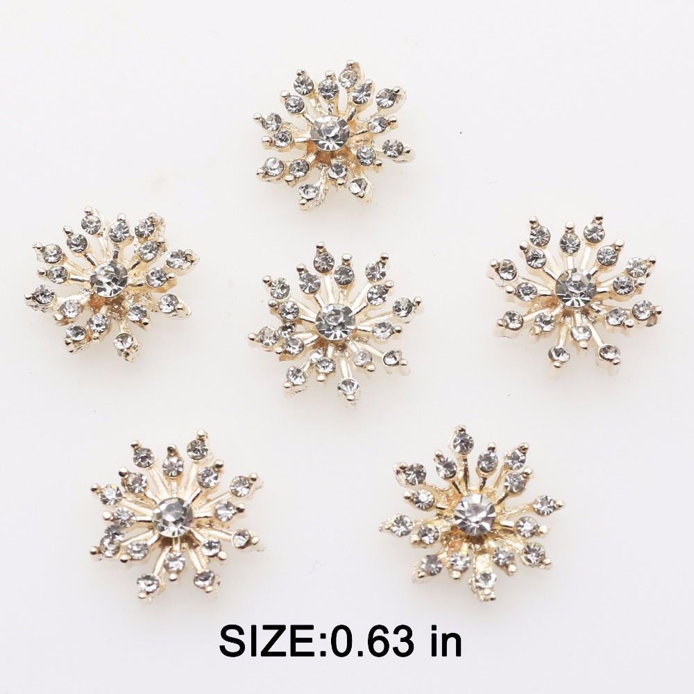 16mm(0.63 Inch) 10pcs/lot Small Flowers Metal Crystal Rhinestone BUTTONS Flat Back Embellishment Floral Center Diy Accessories