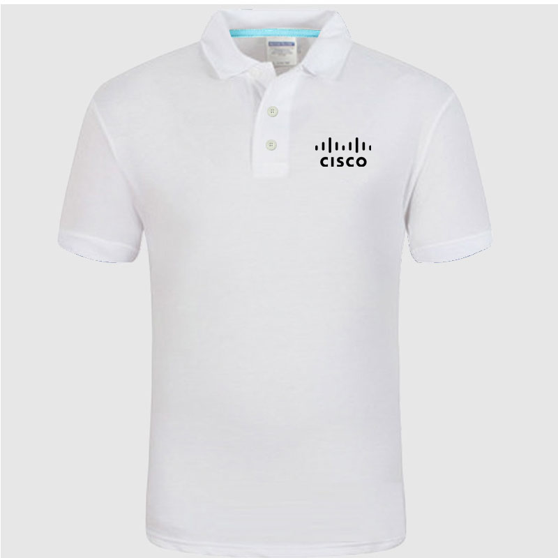 CISCO logo   Polo   Shirt Men summer Short Sleeve   Polo   Shirt Cotton spring Casual Men's   Polos