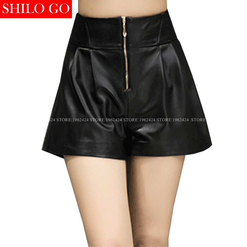 SHILO GO Fashion Street Women Empire Front Gold Zipper Leather Shorts Sheepskin Genuine Wide Leg Shorts Casual Ladies Shorts