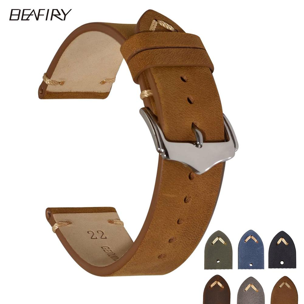 BEAFIRY Crazy Horse Calfskin Leather Watch Band Strap 18mm 20mm 22mm Brown Blue Green Grey Black Belt Wtchband For Men Women