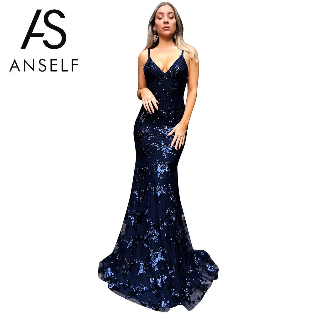 Anself Sexy Women Sequin Dress Floor-Length Sequins Backless Sleeveless  Bodycon Mermaid Dress V Neck Strappy Club Party Dresses 4c1661e0e97c