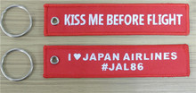 Kiss Me Before Flight I Love Japan Airlines #Jal86 Custom Embroidery Keychains for Keys