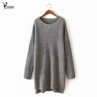 Sueter Mujer 2017 Autumn Winter Fashion Split Swallowtail Female Loose Sweaters Round Neck Women Long Sweaters