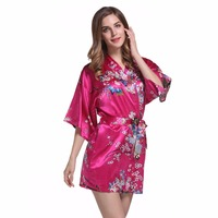 Sexy Print Bridesmaid Bride Wedding Robe Gown Women S Satin Shirt Night Dress Slpeewear Robe Plus