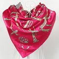 90*90cm Square Silk Scarf Shawl Fashion Dark Pink Satin Female Chain Pattern Scarves Autumn Spring Plus Size Ladies Wraps