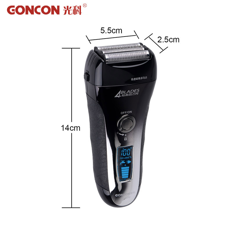 ФОТО Washable Speed Maglev 4-blade Cutting quick charge Rechargeable LCD Display Electric Shaver Razors Shaving Barbeador A4950