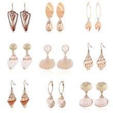 HOCOLE New Korean Natural Shell Drop Earrings For Women Gold Metal Za Bohemian Jewelry Conch Sea Shell Earring Statement Brincos цена