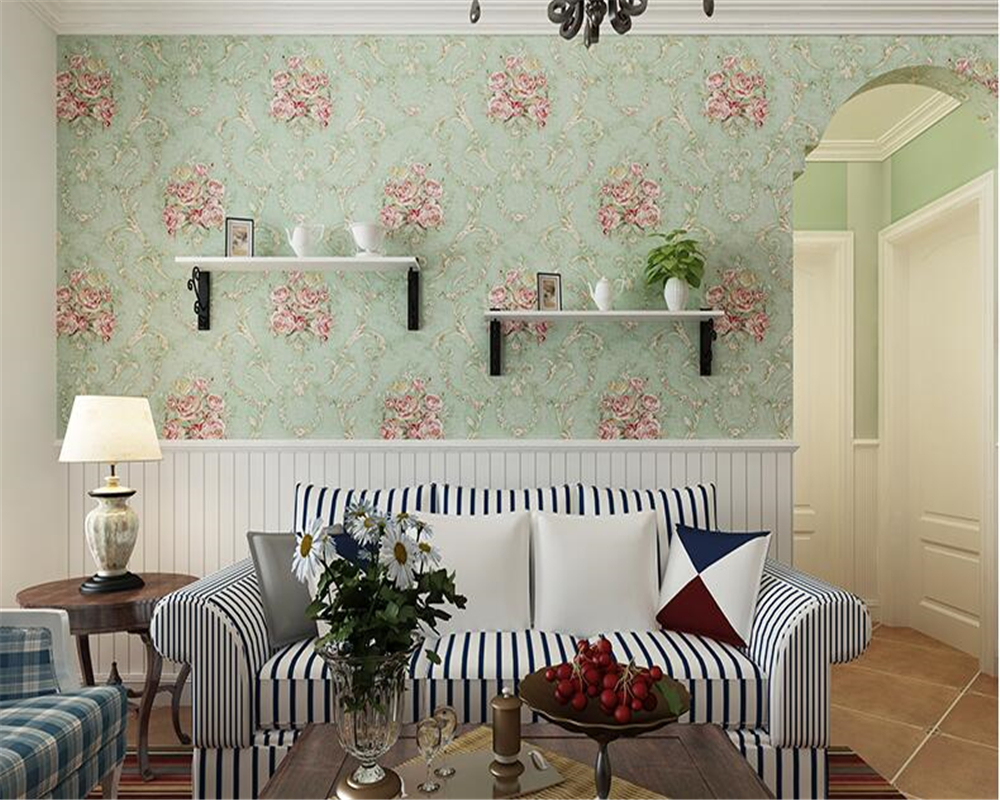 beibehang Non-woven fabric of European pastoral large flower 3d wallpaper American style countryside back to ancient bedroom beibehang wall paper pune environmental non woven american rural countryside flower painting style backdrop wallpaper bedroom