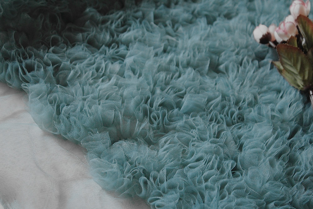 Tissu à volants en maille, rosette minable tissu plissé 3D, toile de fond de photographie de mariage bleu, haute couture bridmaid 1 yard