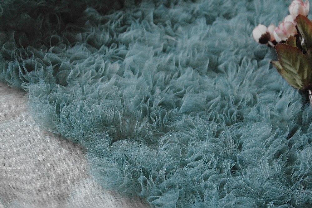 메쉬 ruffled faric, 초라한 장미 3d pleated 패브릭, 블루 웨딩 사진 배경, 오트 couture bridmaid 1 야드-에서직물부터 홈 & 가든 의  그룹 1
