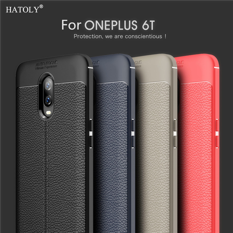 For Cover Oneplus 6T Case Phone Case Silicone Leather Case For Oneplus 6T Cover Bumper Soft Phone Case Funda Oneplus 6T HATOLY in Fitted Cases from Cellphones Telecommunications