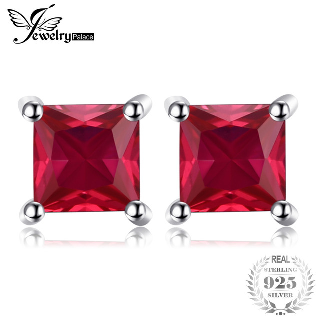 JewelryPalace Square Created Red Ruby 925 Sterling Silver Stud Earrings Fashion
