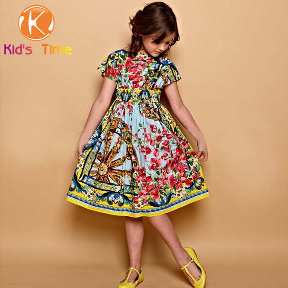deee80d61907 High end European Brand Children summer Lolita Dress baby girls designer  dress luxury vintage rose print dresses.Kids time