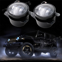 Mayitr 2PCS Pair 4 Inch 30W LED Fog Light Black High Power LED Fog Lamp Auto