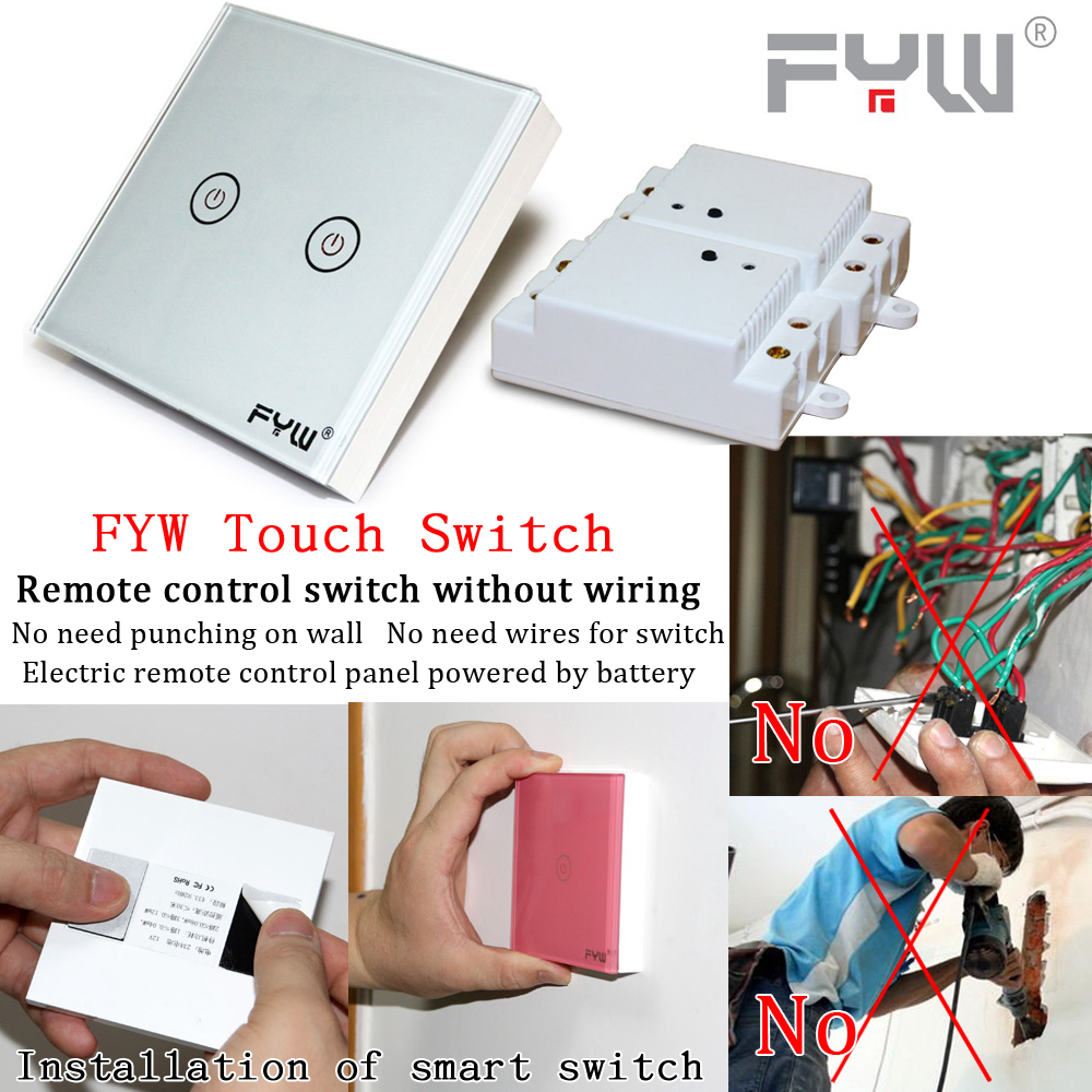Fyw Smart Touch Switch Wireless Remote On Off No Need Wires Wiring Lamps Panel Powered By Battery Wall Switches In From Home