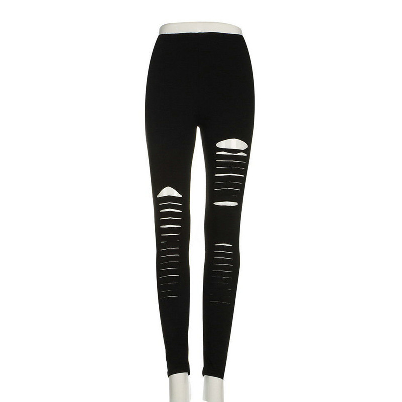 Summer Style Women Fashion Hole Leggings Ladies Bodycon Punk Holes Ripped Slit Split Leggings Boho Solid Slim Pants